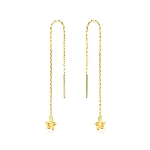 Beydodo 2.31g 24K Yellow Gold 999 Threaded Earring for Womens With Pendant Star Earrings Drop for Wedding by Beydodo