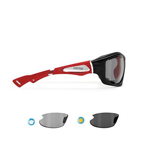 スポーツサングラス偏光Photochromic forサイクリングMTBスキー釣りマリンスポーツランニングゴルフandアクティビティ – p1000ft防風一体型Glasses by Bertoniイタリア B0798RY7X7 Mat Black/Red Mat Black/Red