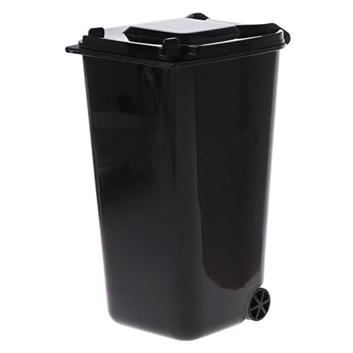 Junlinto Mini Wheelie Trash Can Pen Holder Storage Bin Desktop Organizer Garbage Bucket Black ()