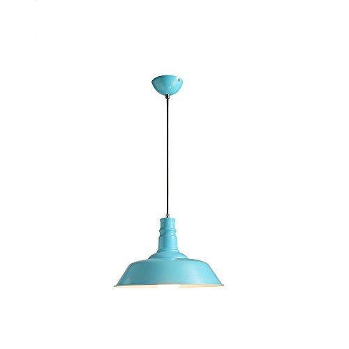 Rishx Creative Macaron Suspension Pendant Lamp Nordic E27 LED Metal Celling Hanging Chandelier Modern Minimalist Restaurant Bar Coffee Shop Pendant Light (Color : Blue)