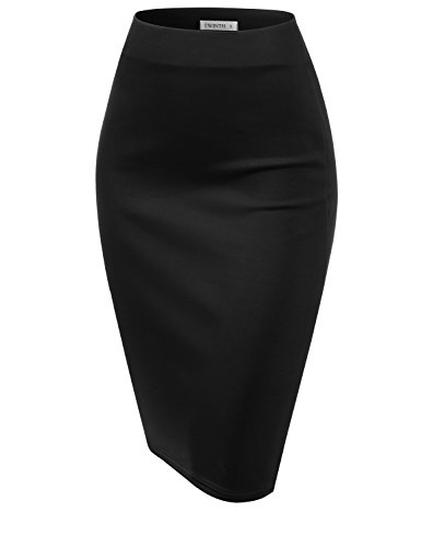 CLOVERY Slim Vintage Pencil Skirts for Women Black 3XL Plus ()