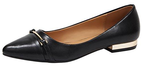 Dress Flat Heel - Cambridge Select Women's Closed Pointed Toe Horsebit Low Metallic Heel Slip-On Dress Loafer (8.5 B(M) US, Black PU)