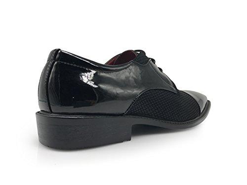 Enzo Romeo Leon Heren Koloniale Toeschouwer Two Tone Cap Teen Oxfords Lace Up Dress Shoes Zwart
