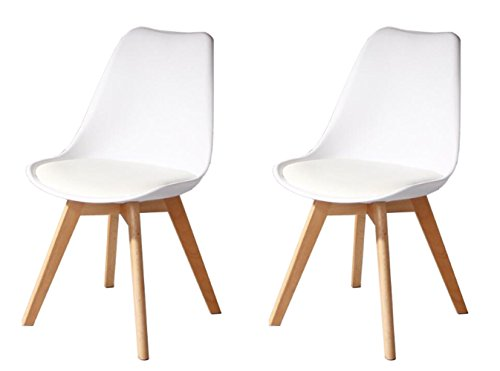 Creation Yusheng Eames Style Soft Padded Seat Dining Chair, Modern and Body Engineering Design Chairs with Wooden Leg, White, Set of 2