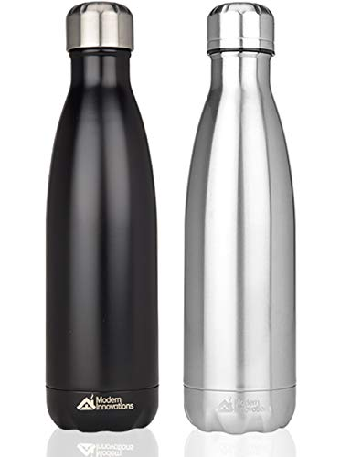Modern Innovations 17oz Double Wall Vacuum Insulated Stainless Steel Water Bottles Leak Proof Keeps Drinks Hot and Cold for Outdoor Sports Camping Hiking Cycling,Black & ()