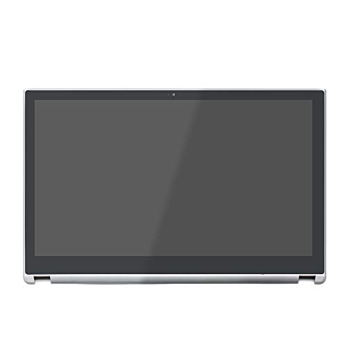 (LCDOLED Compatible 15.6'' 1366x768 LCD Display Touch Screen Digitizer Assembly + Bezel Replacement for Acer Aspire V5-571P V5-571P-6499 V5-571P-6815 V5-571P-6407 V5-571P-6642 V5-571P-6472 (Silver))