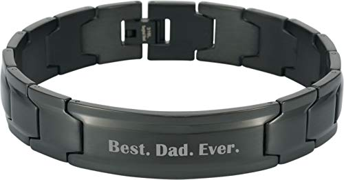 Smarter LifeStyle Elegant DAD & Father Themed Surgical Grade Steel Men's Bracelet Gift, Many Styles to Choose from (Best. Dad. Ever. - Black)