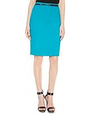 Belted Women Petite Straight Pencil Skirt Blue 6P