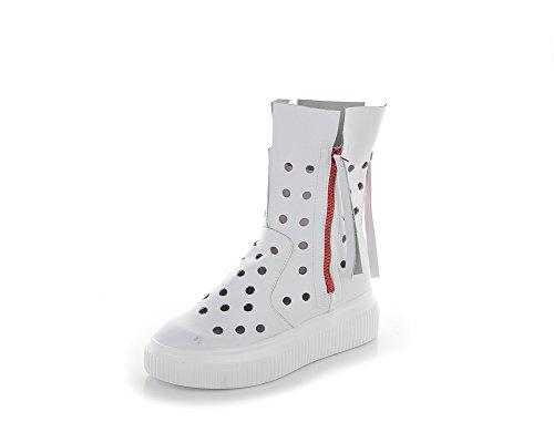 Zapatos de Mujer Estilo Europeo Americano 2018 Zapatos nuevos de Verano, Zapatos de Cuero con Agujeros Blancos, Suelas de Lino Botines Un