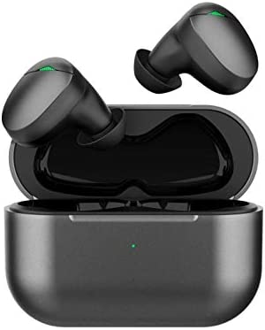 Cirtek Bluetooth 5.0 TWS Wireless Earbuds - IPX6 Waterproof Black Wireless Earphones with Charging Case, Built-in Mic and Smart Touch Control, Wireless in-Ear Headphones for Work Sport (Black)