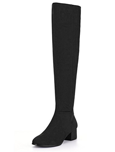 Allegra K Women's Round Toe Block Heel Over The Knee Boots Christmas Boots (Size US 6.5) Black ()