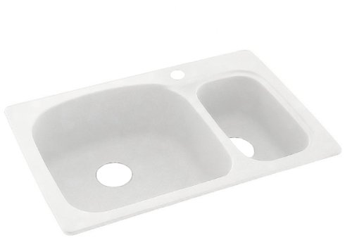 (Swanstone KS03322LS.011 Solid Surface 1-Hole Drop in Double-Bowl Kitchen Sink, 33-in L X 22-in H X 9-in H, Tahiti White)