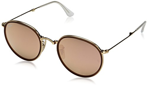 Ray-Ban ROUND - GOLD Frame BROWN MIRROR PINK Lenses 48mm - Ban Foldable Ray
