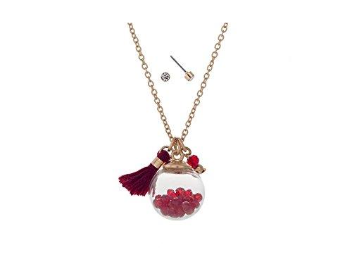 Goldtone Dainty Globe Necklace With Mini Tassel (Burgundy) (Pendant Burgundy Mini)