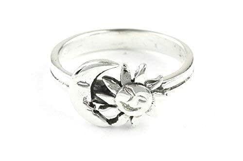 solid 14K gold ring rising sun ring Sterling silver ring. engagement ring circle ring 585 gold