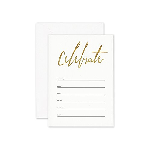 William Arthur Gold Celebrate Fill-In Invitation- 2 Boxes of 10 Cards (20 invitations total)