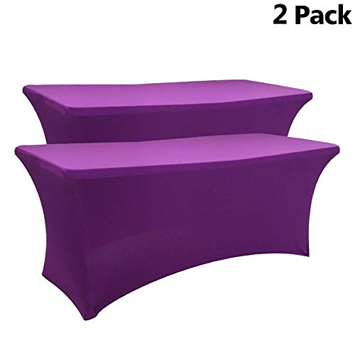 (Melaluxe 2 Pack Rectangular Stretch Table Cover, Fitted Spandex Tablecloth for Standard Folding Tables (6ft, Purple))
