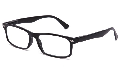 Unisex Translucent Simple Design No Logo Clear Lens Glasses in Black ()
