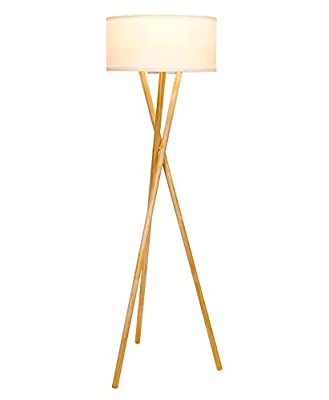 Brightech Harper LED Tripod Floor Lamp– Modern Design Natural Wood Mid Century Style Lighting for Contemporary Living or Family Rooms - Ambient Light Tall Standing Survey Lamp for Bedroom, Office