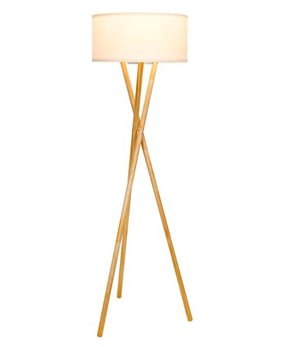 Brightech Harper LED Tripod Floor Lamp – Mid Century Modern Wood for Contemporary Living or Family Rooms - Tall Standing Survey Lamp for Bedroom, Office, Kids Room -