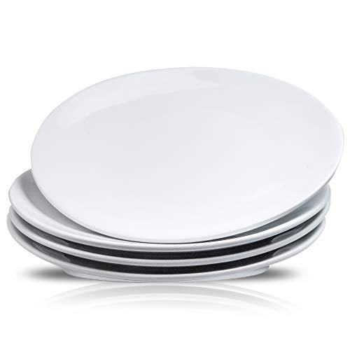 DUS 10 Inches Perdurable Porcelain Dinner Plates Set Of 4 Oval White Dinnerware Sets Plates Dishes for Party