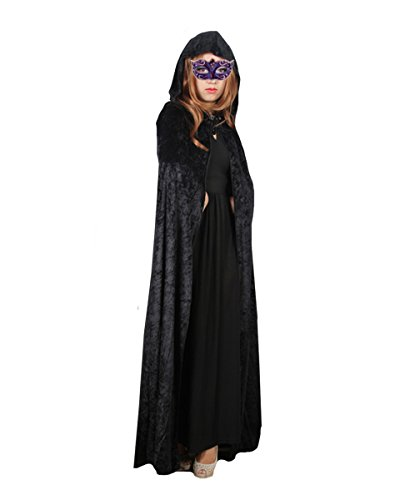 Orfila Women Full Length Halloween Cloak Masquerade Velvet Hooded Cape Robe Drama Cosplay Costumes Witch Wizard -