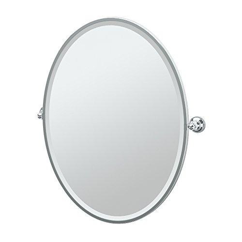 (Gatco 4329FLG Tiara Framed Large Oval Mirror, Chrome)