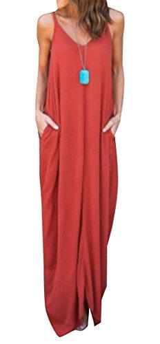 Big Womens Swing Sleeveless Orange Pocket Maxi V Strap Neck Tang Spaghetti Dress TTHRq7