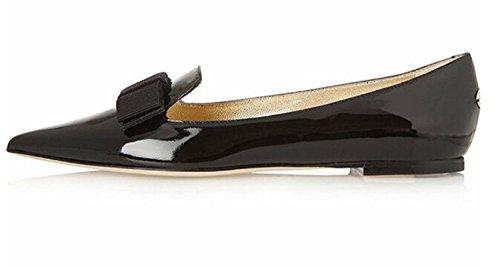 (Eldof Women's Flats, Pointed Toe Flats Pumps, Patent Leather Flats Pumps, Walking Dress Office Classic Comfortable Flats Black US9)