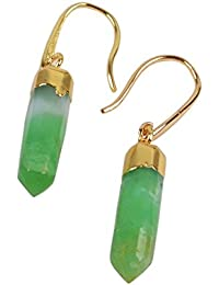 1 Pair Australia Jade Faceted Point Drop Dangle Earrings with Fishhook Backing 1353