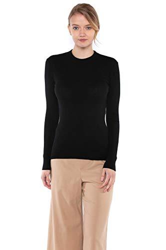 (JENNIE LIU Tissue Weight 55% Silk 45% Cashmere Ribbed Long Sleeve Crew Neck Sweater(M, Black))