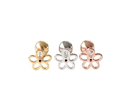 16g Body jewelry cartilage ear studs earring cute cool earring tragus helix earring barbell for women teens girls men leaf flowers earring Piercing-MF,leaf jewelry,flower - Sale Haviana