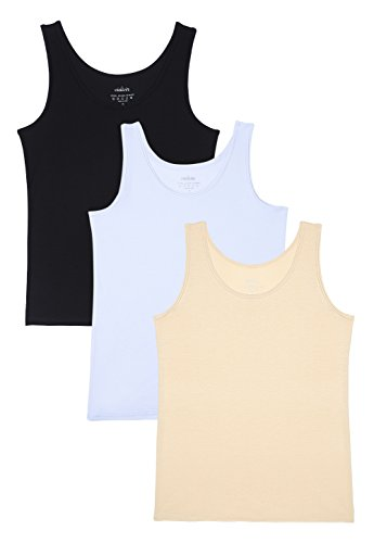 Vislivin Womens Supersoft Camisole Stretch Casual Tank Tops Black/White/Apricot M