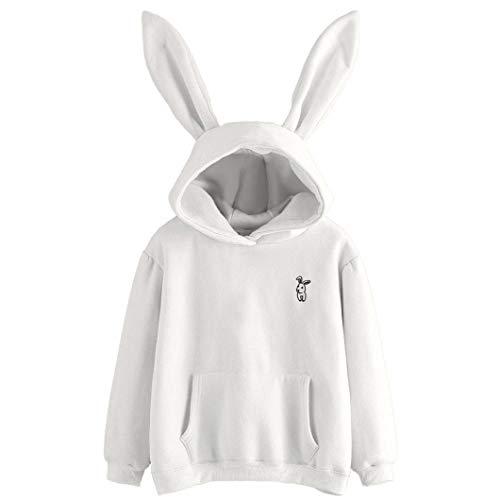 MODOQO Women's Hoodie Long Sleeve Rabbit Loose Sweatshirt Pullover Tops with Pocket by MODOQO