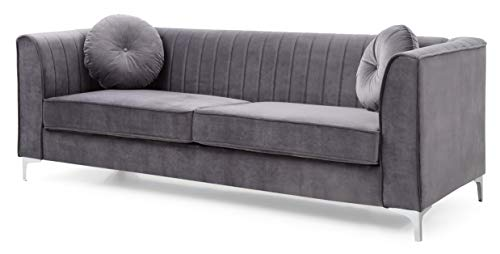 "Glory Furniture Delray Sofa, Gray. Living Room Furniture, 32"" H x 87"" W x 34"" D"