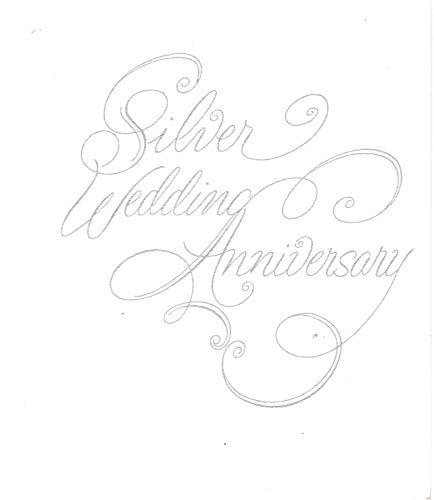 25th Wedding Anniversary Invitations, Silver Script Silver Print 25 -