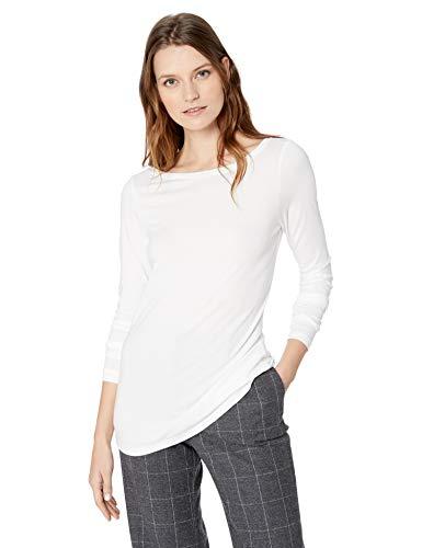 Lark & Ro Women's Short Sleeve Jersey Pima Cotton/Modal Scoop Neck T-Shirt, White, Large