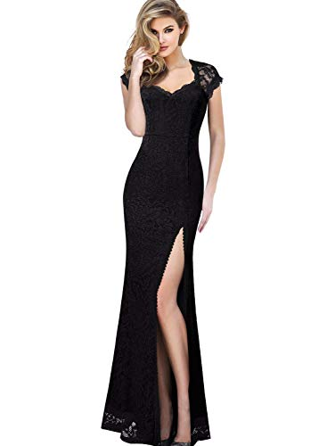VFSHOW Womens Elegant Floral Lace Formal Evening Wedding Party Maxi Dress 1900 BLK XL