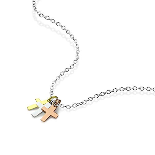 QMM necklace Pendant Fashion Girl Tricolor Small Cross Pendant Chocker Woman 100% 925 Sterling Silver Necklace Charm Silver Jewelry