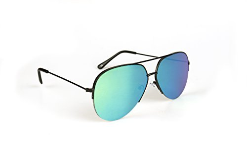 JOOX Fashion Aviator Sunglasses Half Frame Metal Flat Black Mirror Lens - Aviator Frame Half Sunglasses
