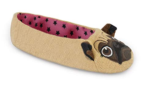 - Ladies Knitted Novelty Pug Ballet Slippers (Small Approx US 5-6, Brown Pug)