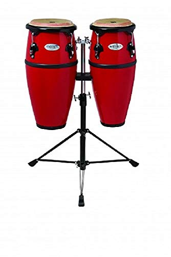 Toca 2300FRD Synergy Series Fiberglass Conga Set with Stand - Red by Toca