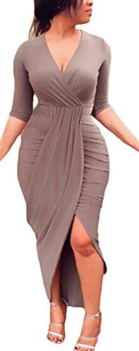 Vestidos De Fiesta Largos De Noche Elegantes Apretados Lápiz Vestido Coctel Otoño Invierno Manga Larga V Cuello Asimétrica Color Sólido Vestidos Largos