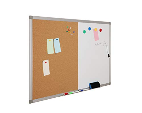 Magnetic Dry Erase Cork and Bulletin Board Combo, 24 x 36 Inch Whiteboard & Cork Board with Aluminum Frame, Magnetic Dry Erase Monthly Calendar 13 x 17 inch 10 Colorful Push Pins, 4 Magnets, 4 Markers