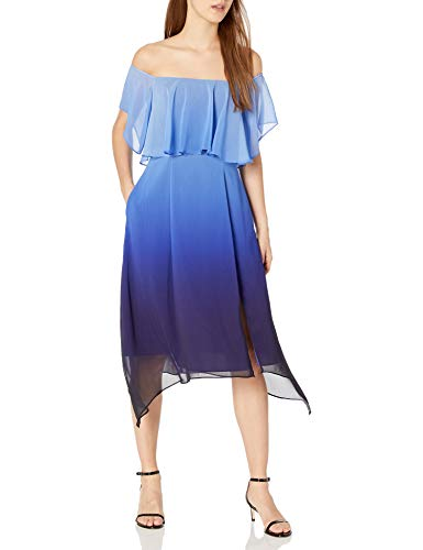 RACHEL Rachel Roy Women's Ombre Ruffle Midi Dress, Blue Combo, 8