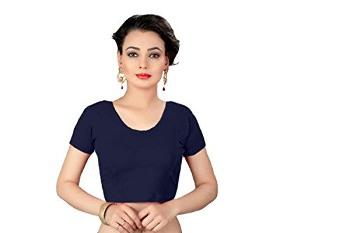 Indian Ethnic Design Stretchable Cotton Lycra Blouses Blue Tops Readymade Saree Blouses Short Sleeve Crop Top