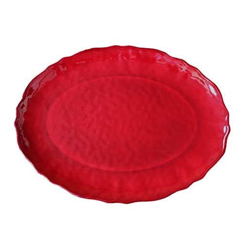 (Le Cadeaux Garnet Red Holiday Melamine Oval Serving Platter, Item)