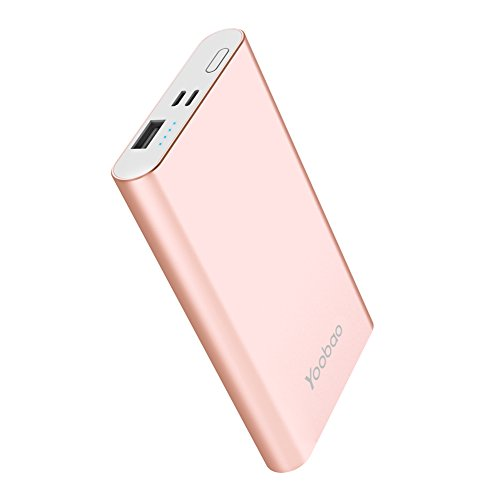Portable Charger Yoobao Power Bank with Lightning Micro Dual Inputs 8000mAh Slim External Battery Pack Sleek A-alloy Shell LED Display,Charge for iPhone X 8 7 6 Plus Android Samsung Phone etc-RoseGold