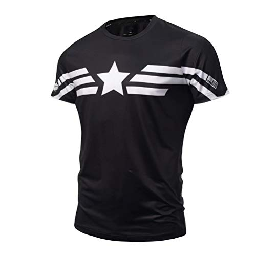 Tsyllyp Superhero Compression Sports Runing Fitness Gym Short Sleeve Shirts
