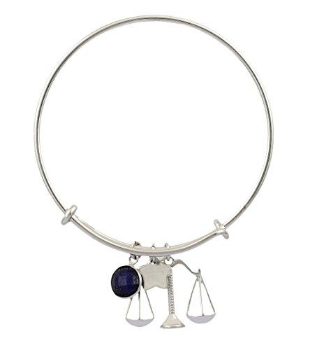 Fadkart Libra Zodiac Star Sign Rhodium Plated Lapis Birthstone Bangle Bracelet for Girls ()